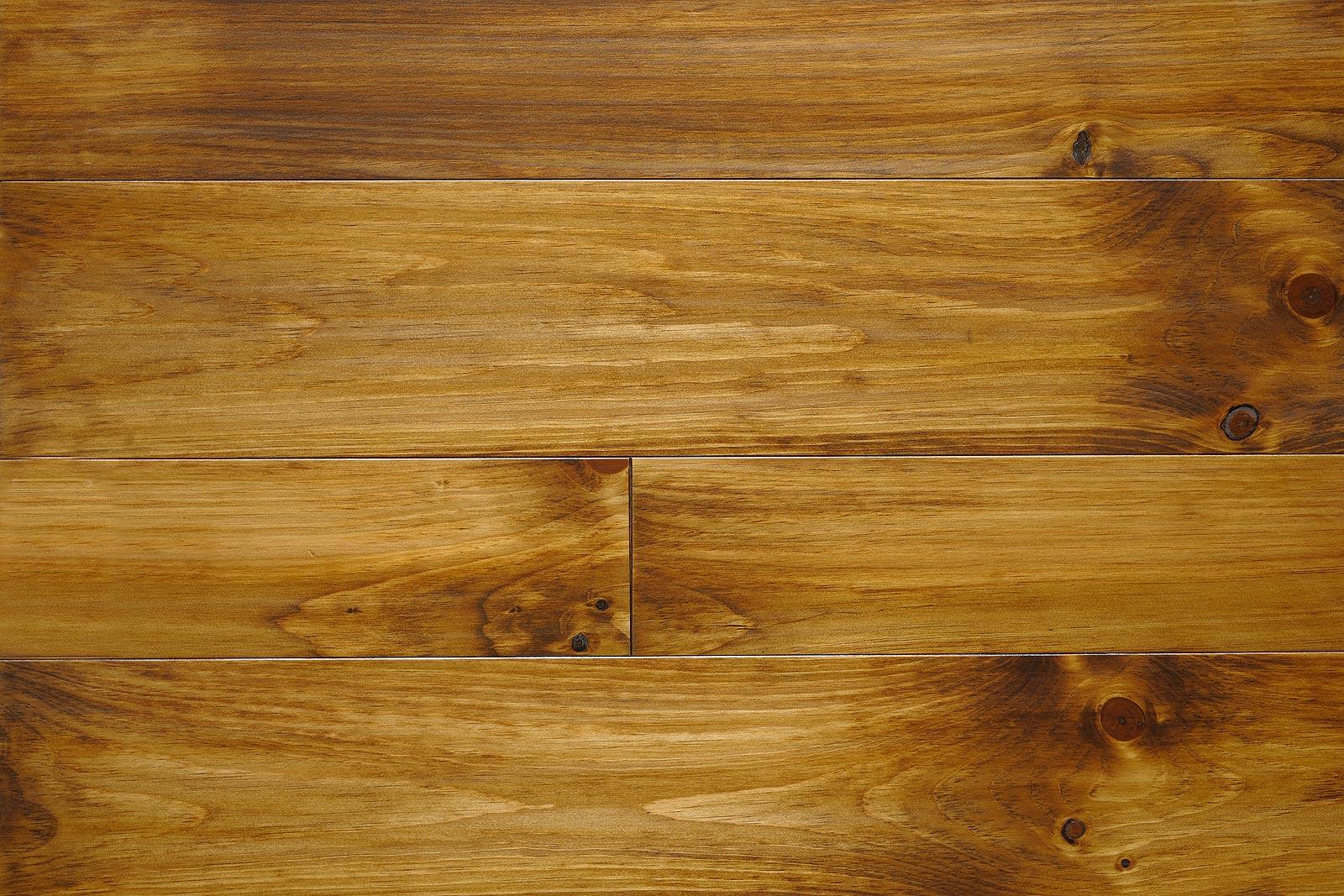 Golden Brown On Knotty Pine Wood Flooring